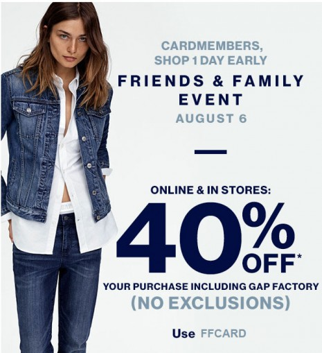 Gap Friends & Family Event