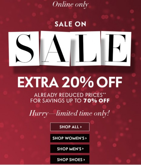 Neiman Marcus SALE is on SALE!  Additional 20% off!